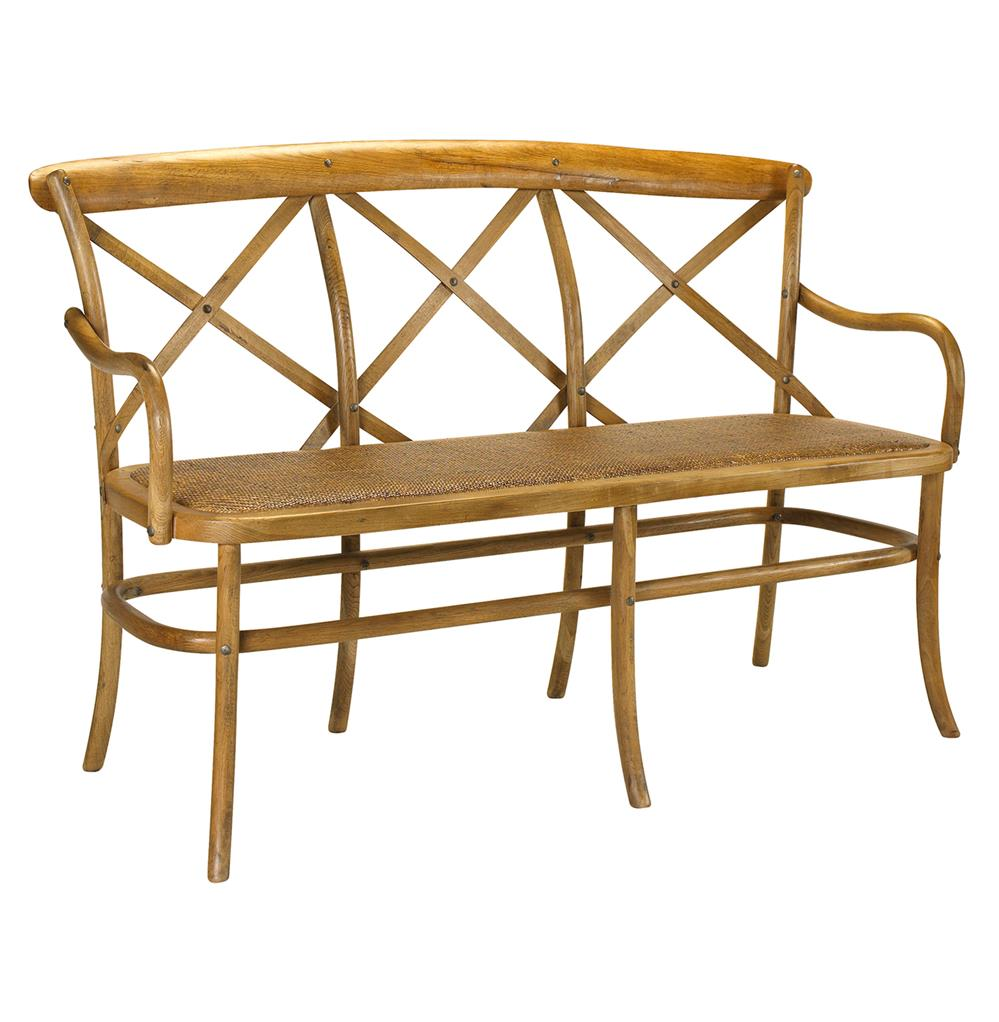 Kasson French Country Light Oak Wood 3 Seat Dining Bench