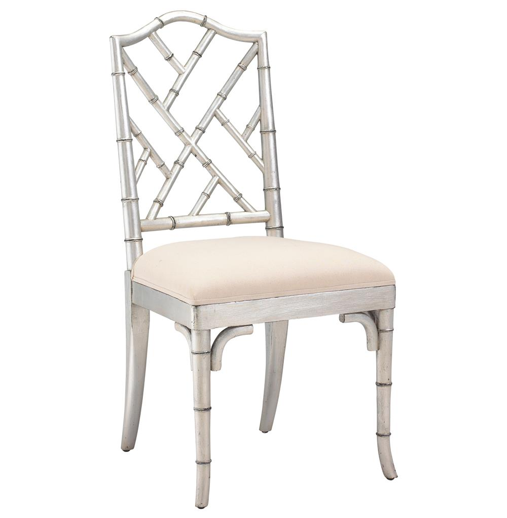 Bamboo Dining Room Chairs: Chinese Chippendale Hollywood Regency Silver Bamboo Dining