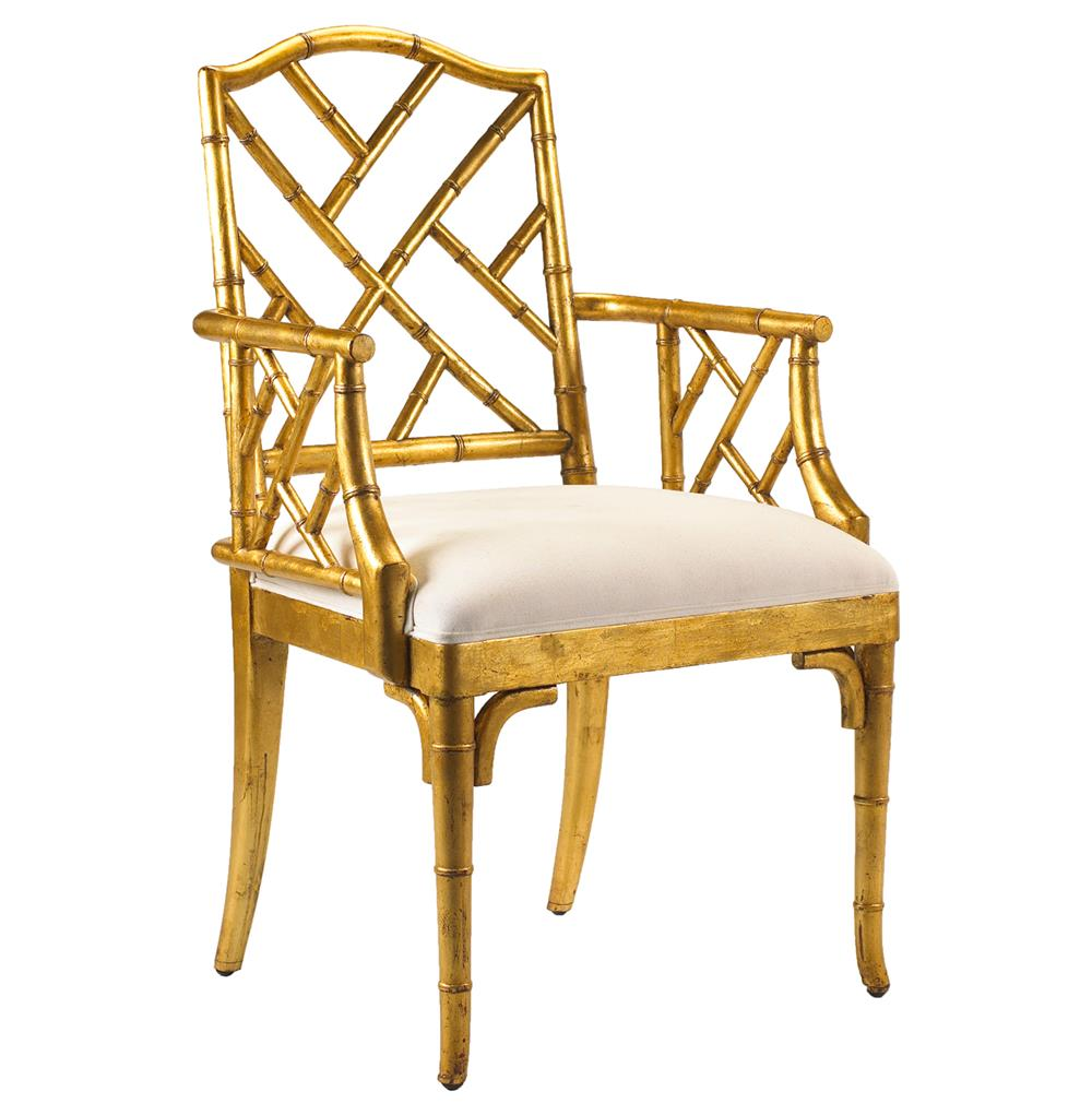 Chinese Chippendale Hollywood Regency Gold Bamboo Dining Arm Chair Kathy Ku