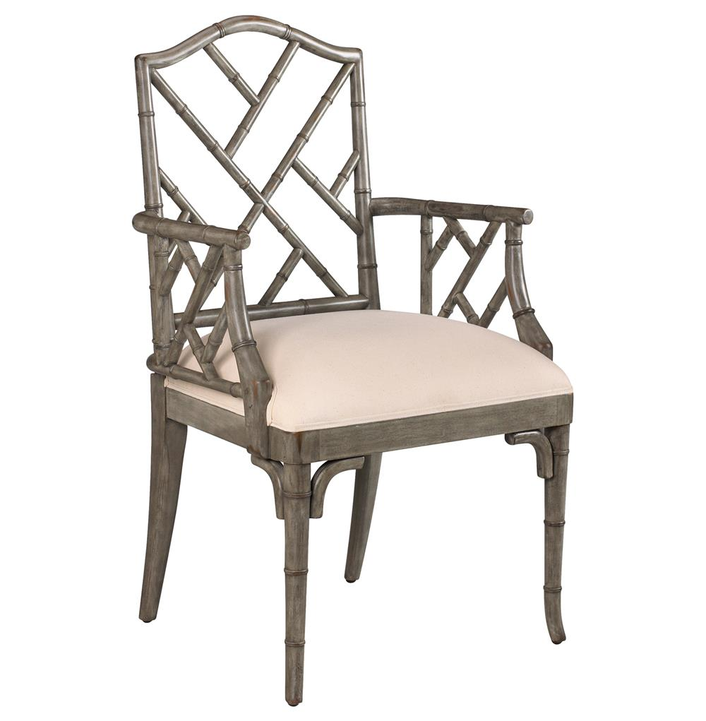 Chippendale Furniture: Chinese Chippendale Hollywood Regency Grey Bamboo Dining