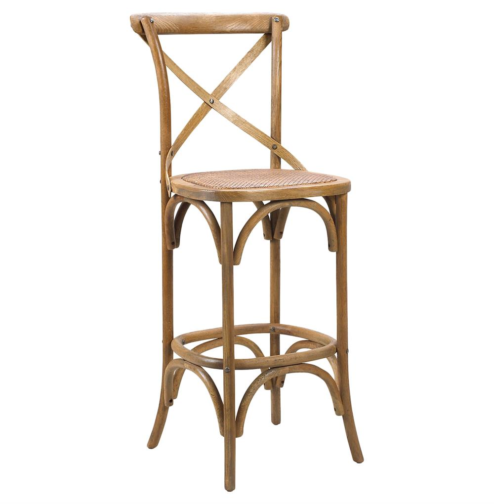 Kasson French Country Light Oak Wood Bar Stool Pair