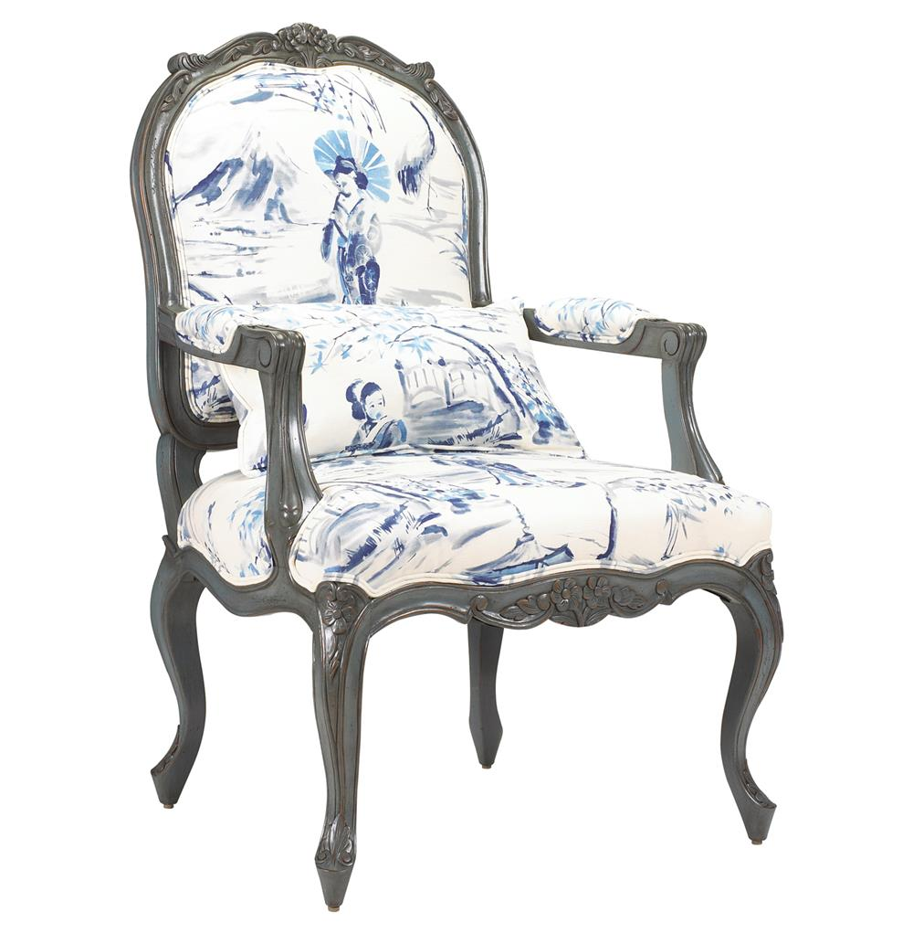 Charmant Bayonne French Country Blue Geisha Upholstered Arm Chair | Kathy Kuo Home