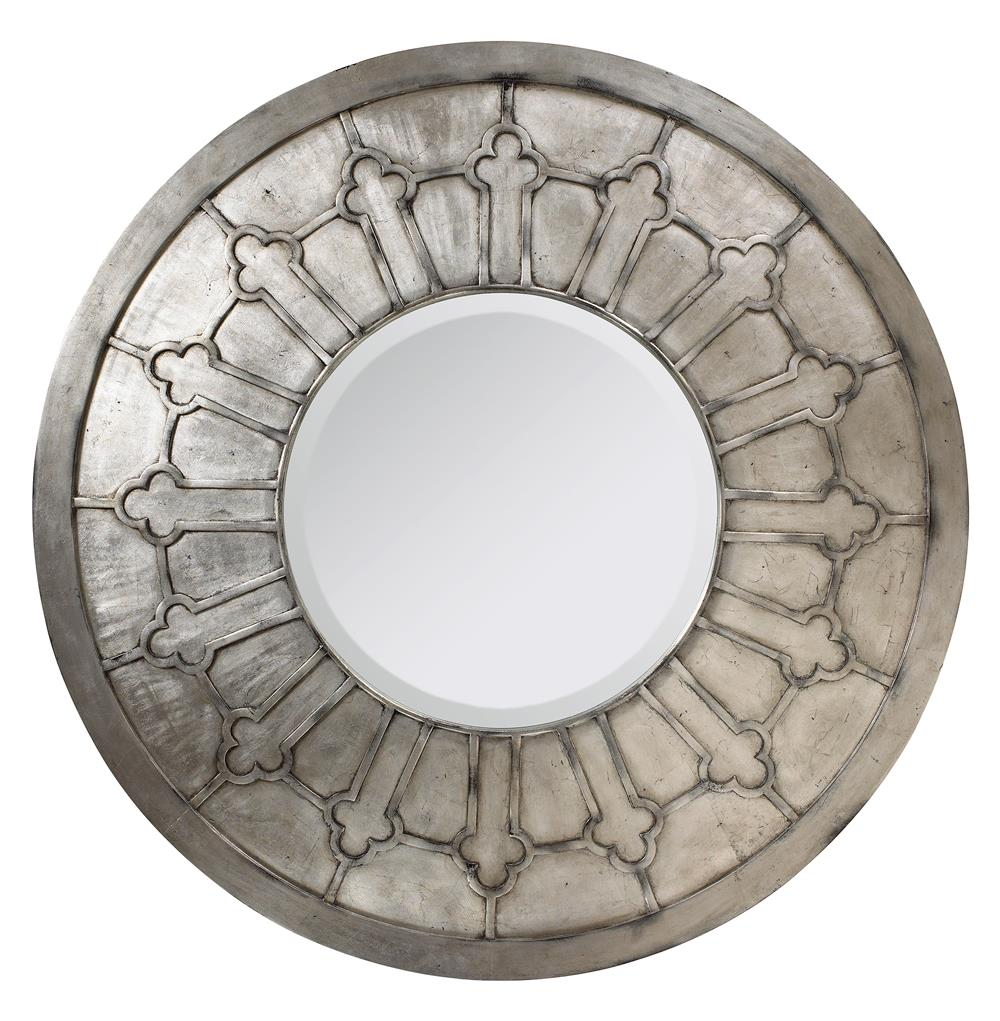 Alexandria french country antique silver round wall mirror for Round silver wall mirror