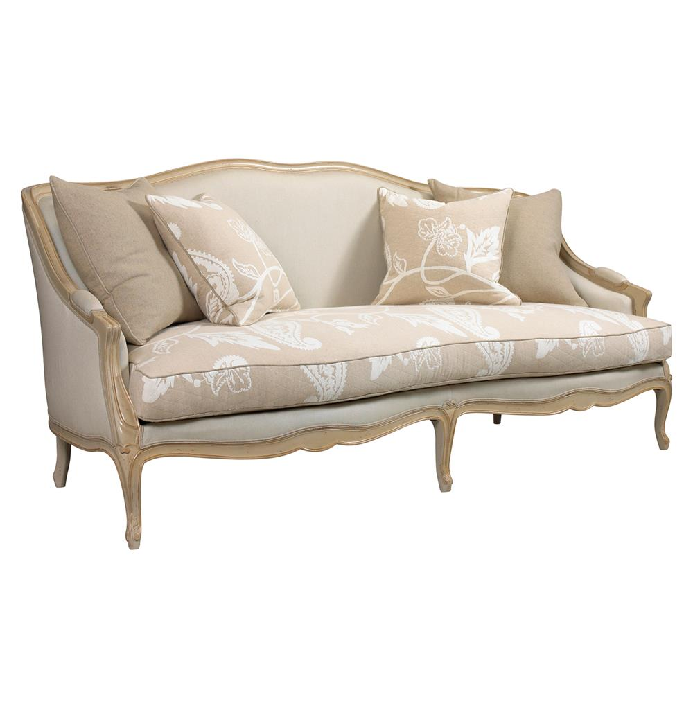 Chambery French Country Beige Ivory Paisley Upholstered Sofa