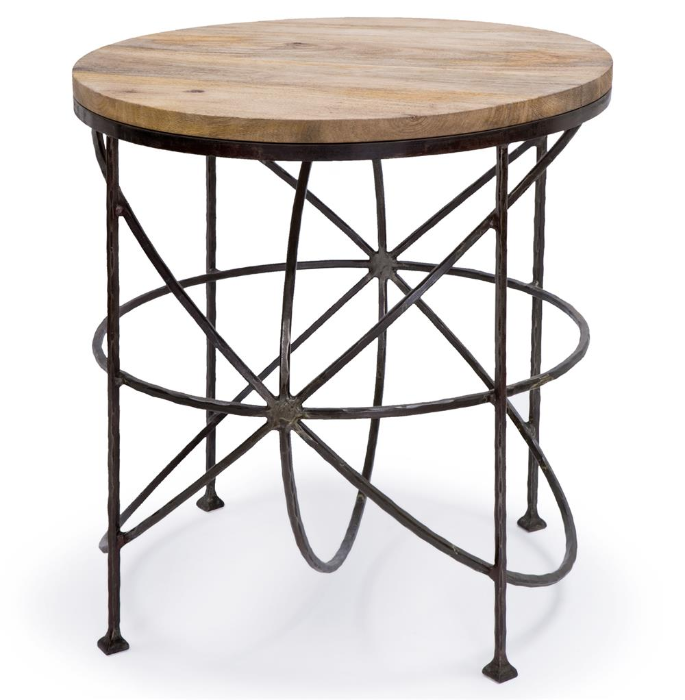 Alchemy rustic industrial loft wood iron orbit round side for Iron and wood side table