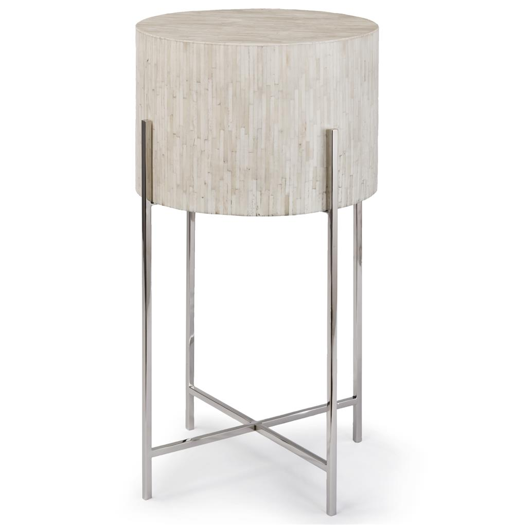 Dhaka modern global bazaar white bone drum side table silver for Drum side table