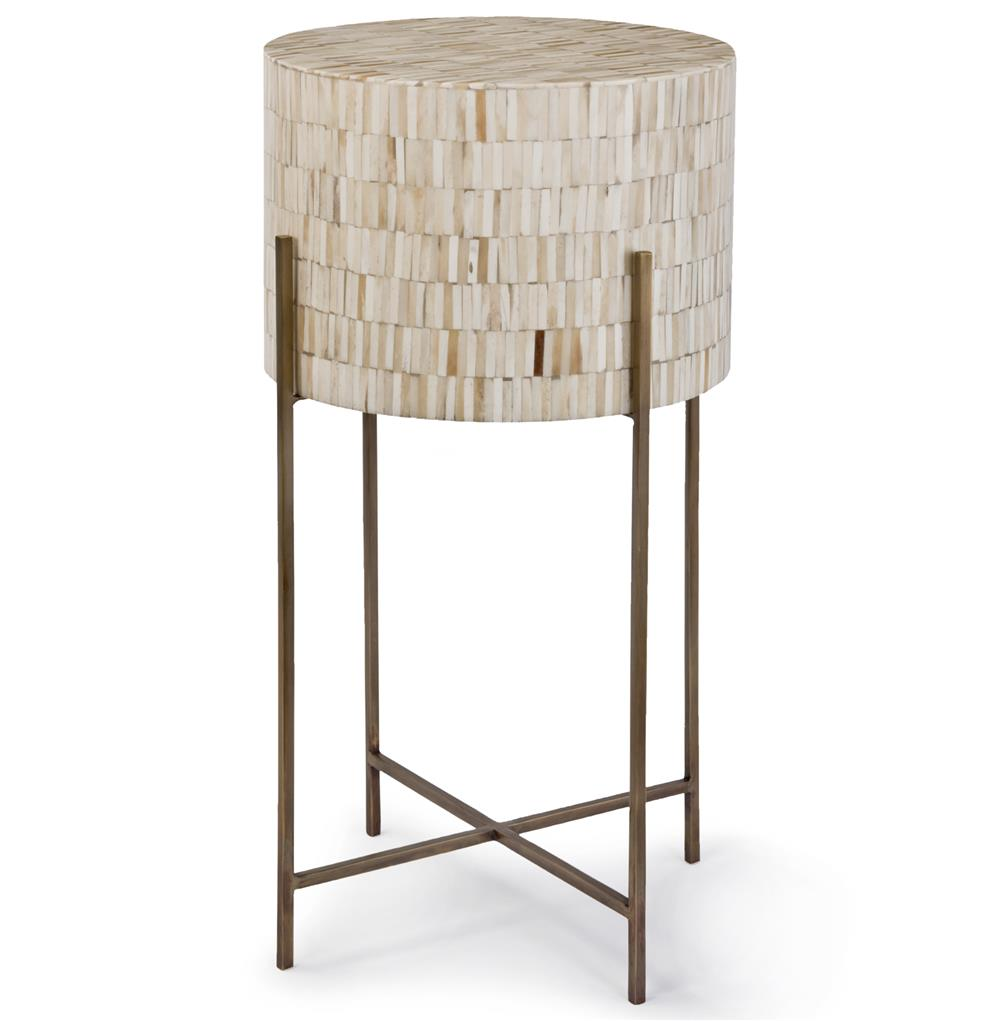 Dhaka modern global bazaar white bone drum side table for Drum side table