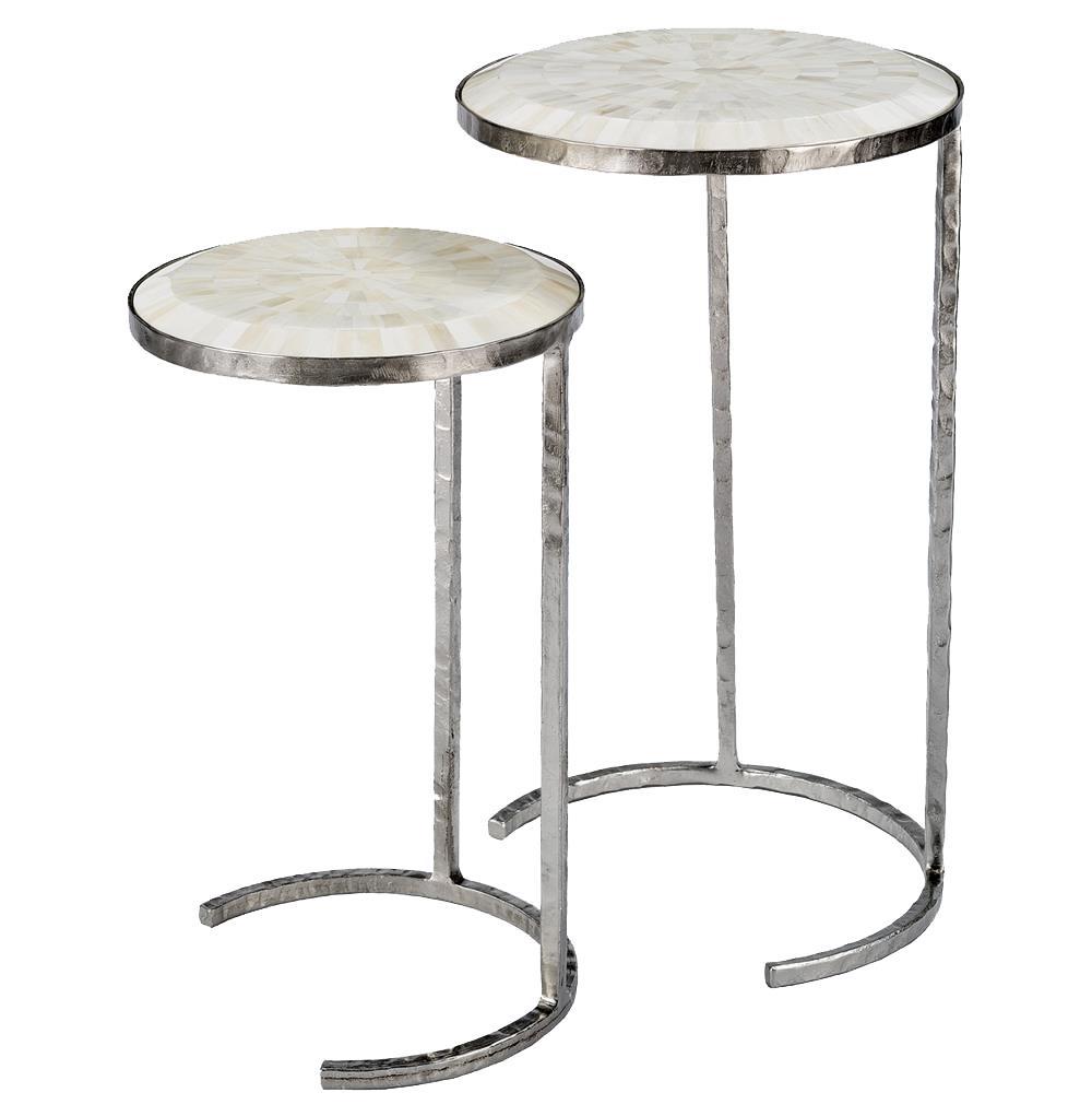 Banani modern classic white bone silver nesting side for Modern classic table