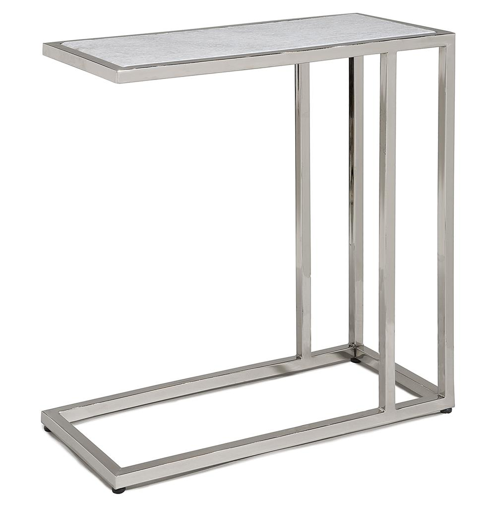 Room Coffee End Table, Slide Under Couch Side Metal Glass Top, Chrome