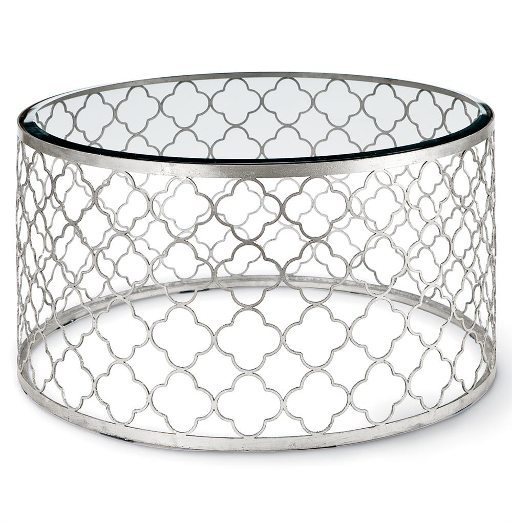 Silver Metal And Glass Coffee Table: Gable Hollywood Regency Glass Silver Leaf Round Coffee