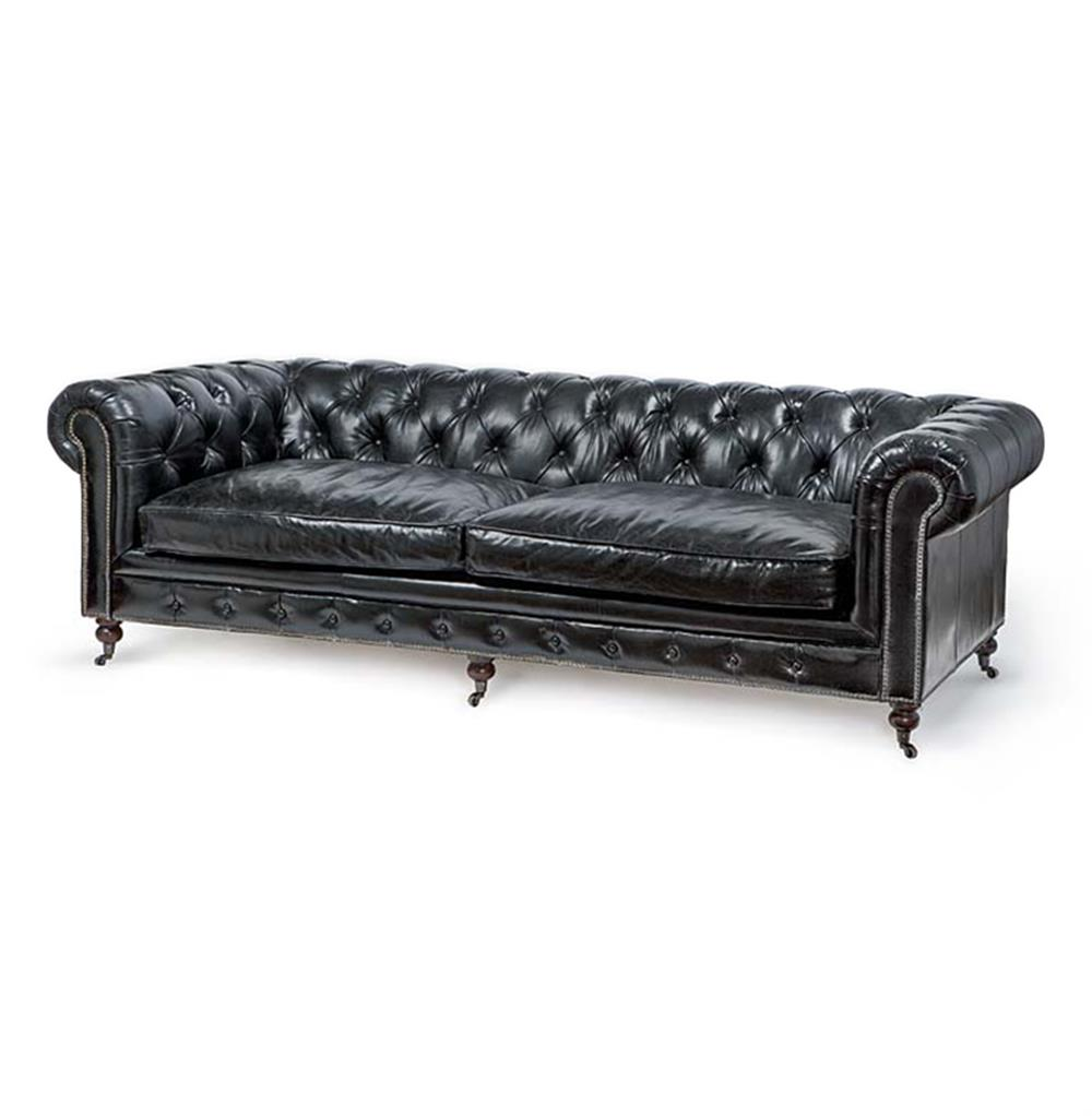 ace industrial loft black leather tufted deep seat sofa kathy kuo home. Black Bedroom Furniture Sets. Home Design Ideas