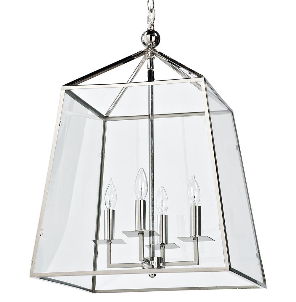 Tesla Industrial Loft Modern Trapezoid Silver Metal Glass