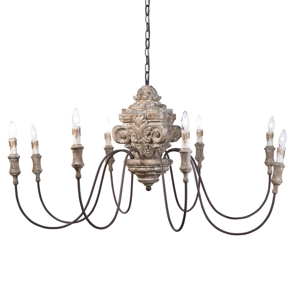 Ravel french country carved wood 8 light chandelier French country chandelier