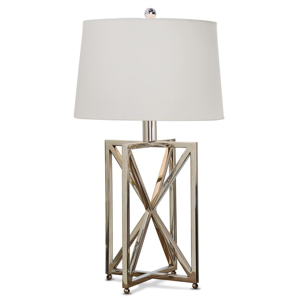 Leonardo modern silver metal geometric table lamp kathy for Home design zymeth aluminum table lamp