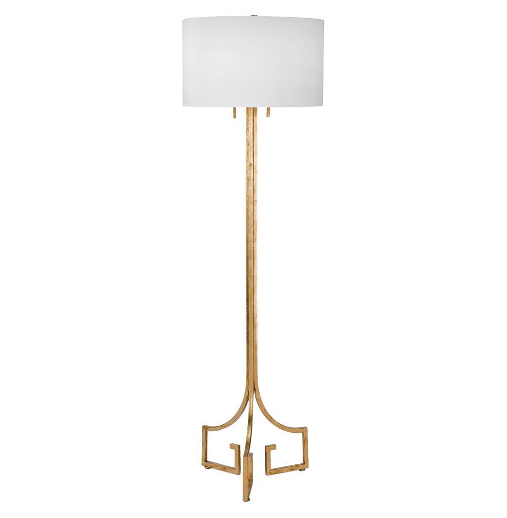 Tandy Hollywood Regency Linen Gold Leaf Floor Lamp Kathy
