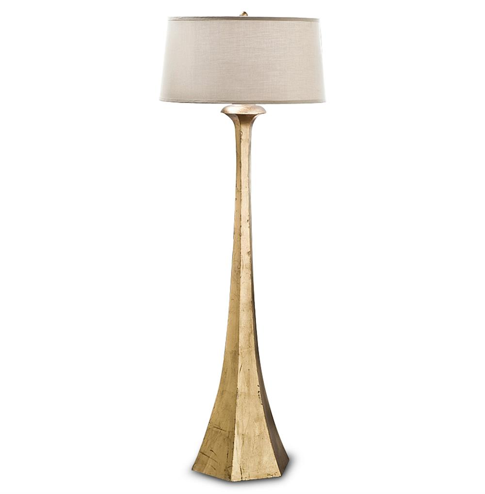 Dorothy Hollywood Regency Gold Leaf Tapered Floor Lamp