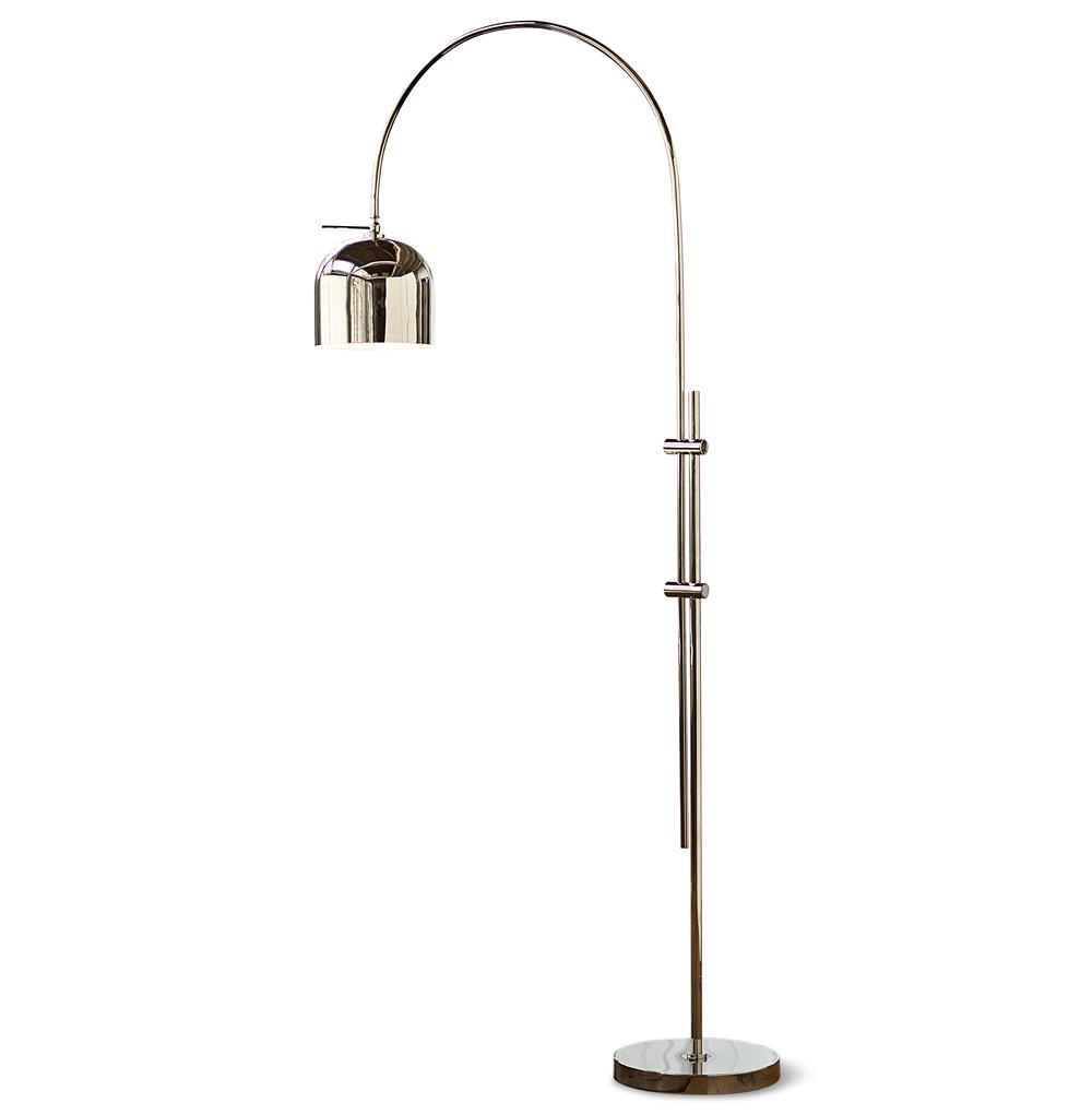 Tobias Modern Silver Metal Arc Floor Lamp Kathy Kuo Home