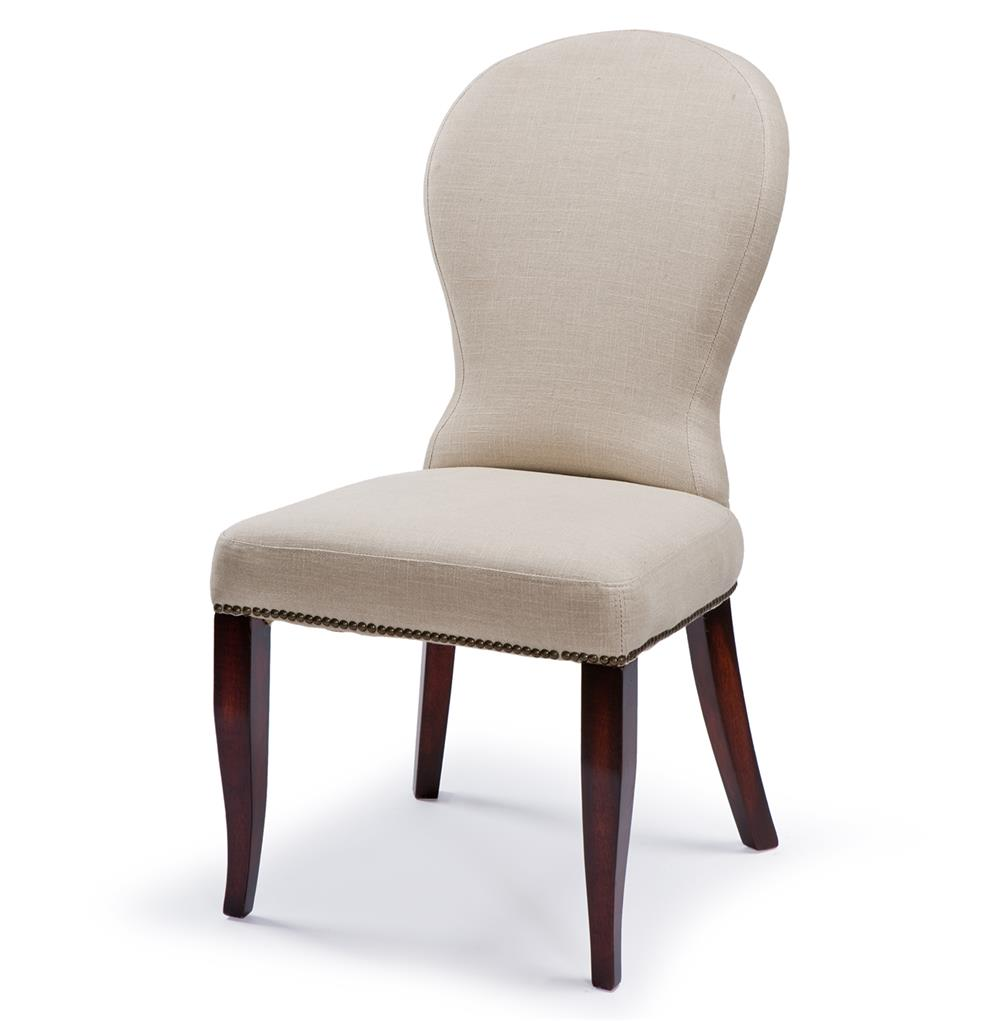 Bunyan rustic lodge natural linen upholstered dining chair for Upholstered linen dining chairs