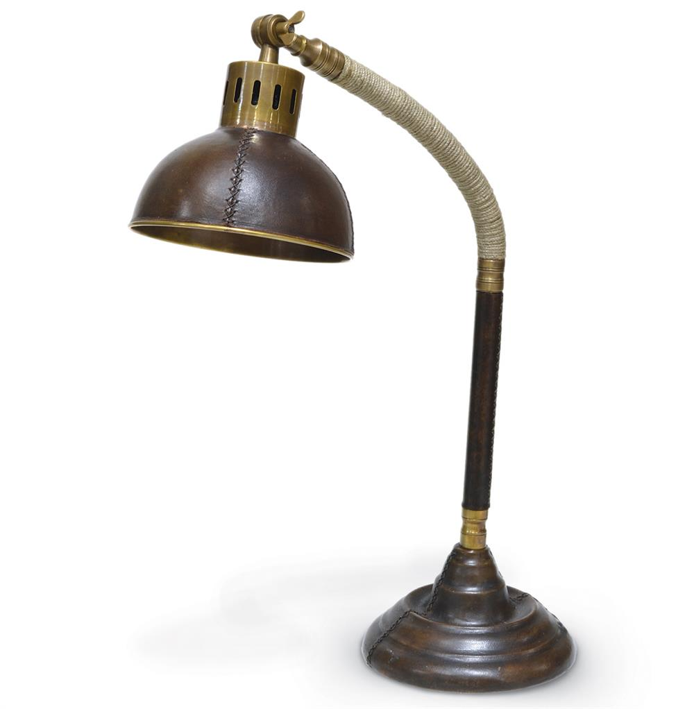 Palecek Shallow Leather Industrial Rustic Table Lamp