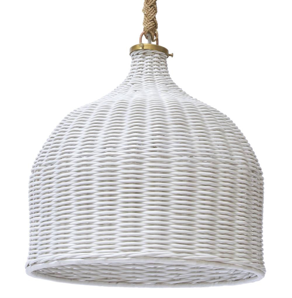Palecek Taza White Coastal Cottage Hanging Rope Pendant ...