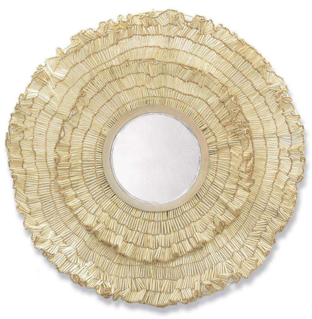 Palecek Cocoa Wood Ruffled Large Round Coastal Beach Wall Mirror