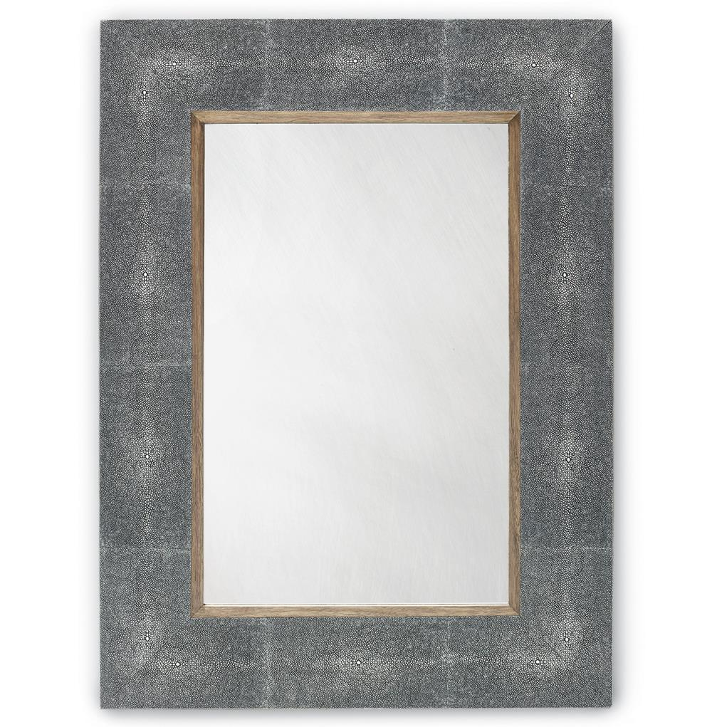 Forsythe grey faux shagreen rectangular wall mirror kathy kuo home amipublicfo Gallery