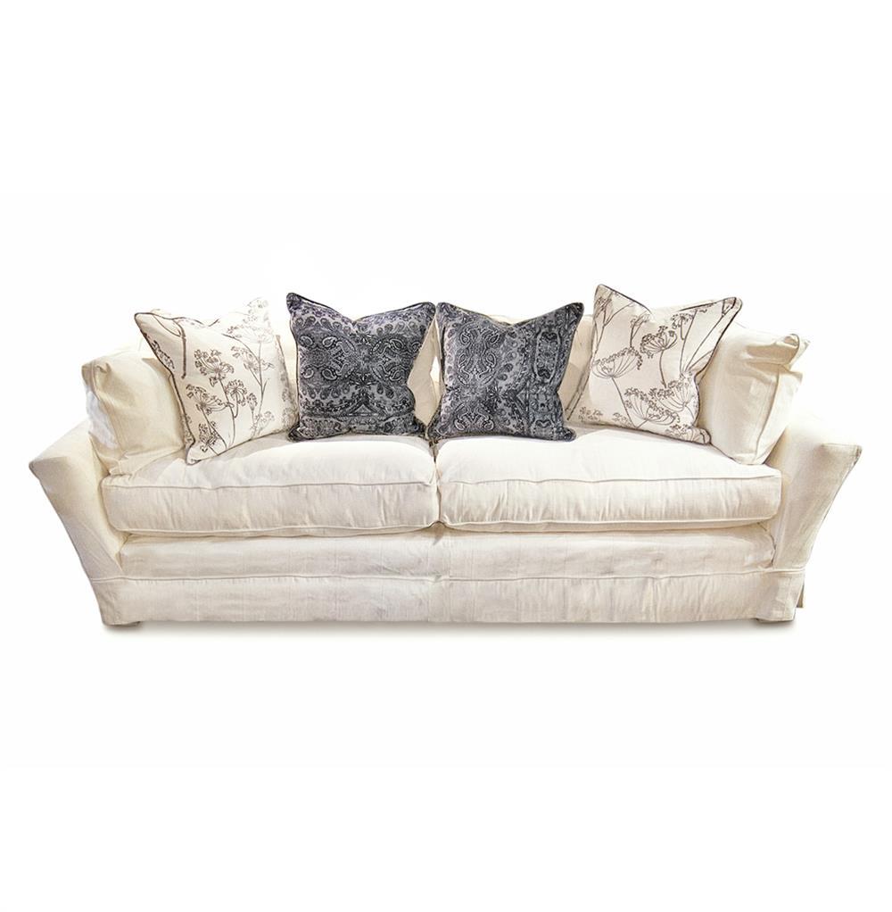 Chenille Skirted Sofa: Dania Modern Coastal Beach White Striped Skirted Sofa