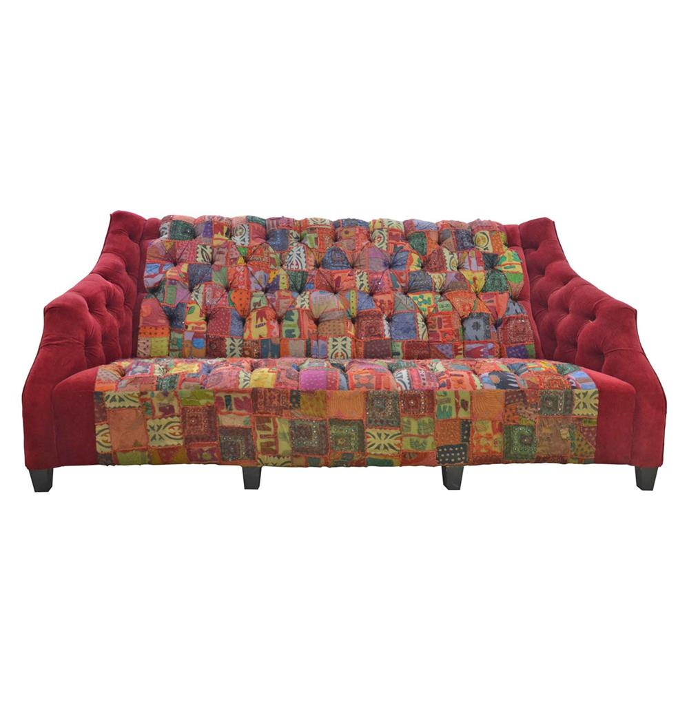 Bazaar mixed textiles patchwork button tufted sofa kathy kuo home