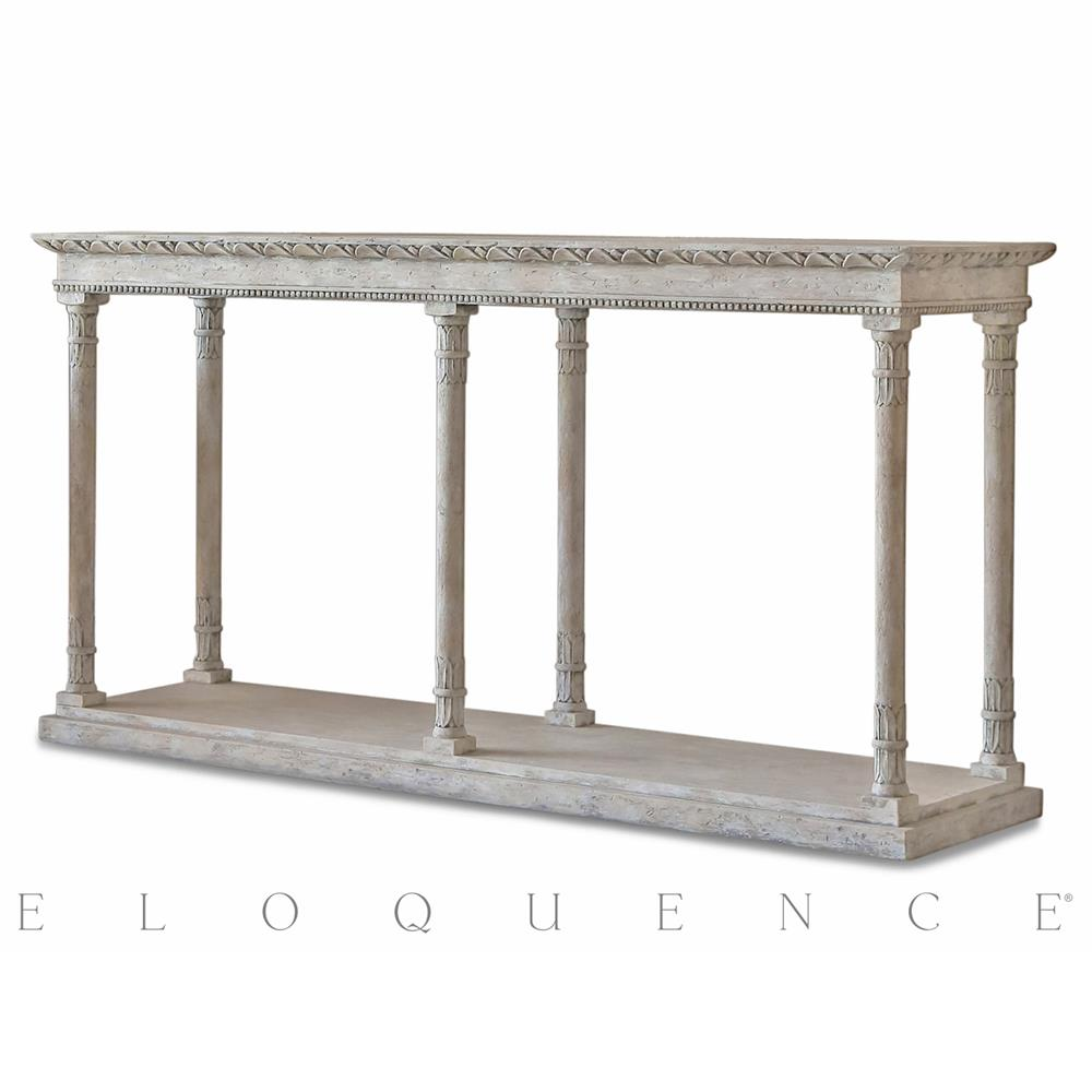 Eloquence gustav console table in oak driftwood kathy kuo home geotapseo Image collections