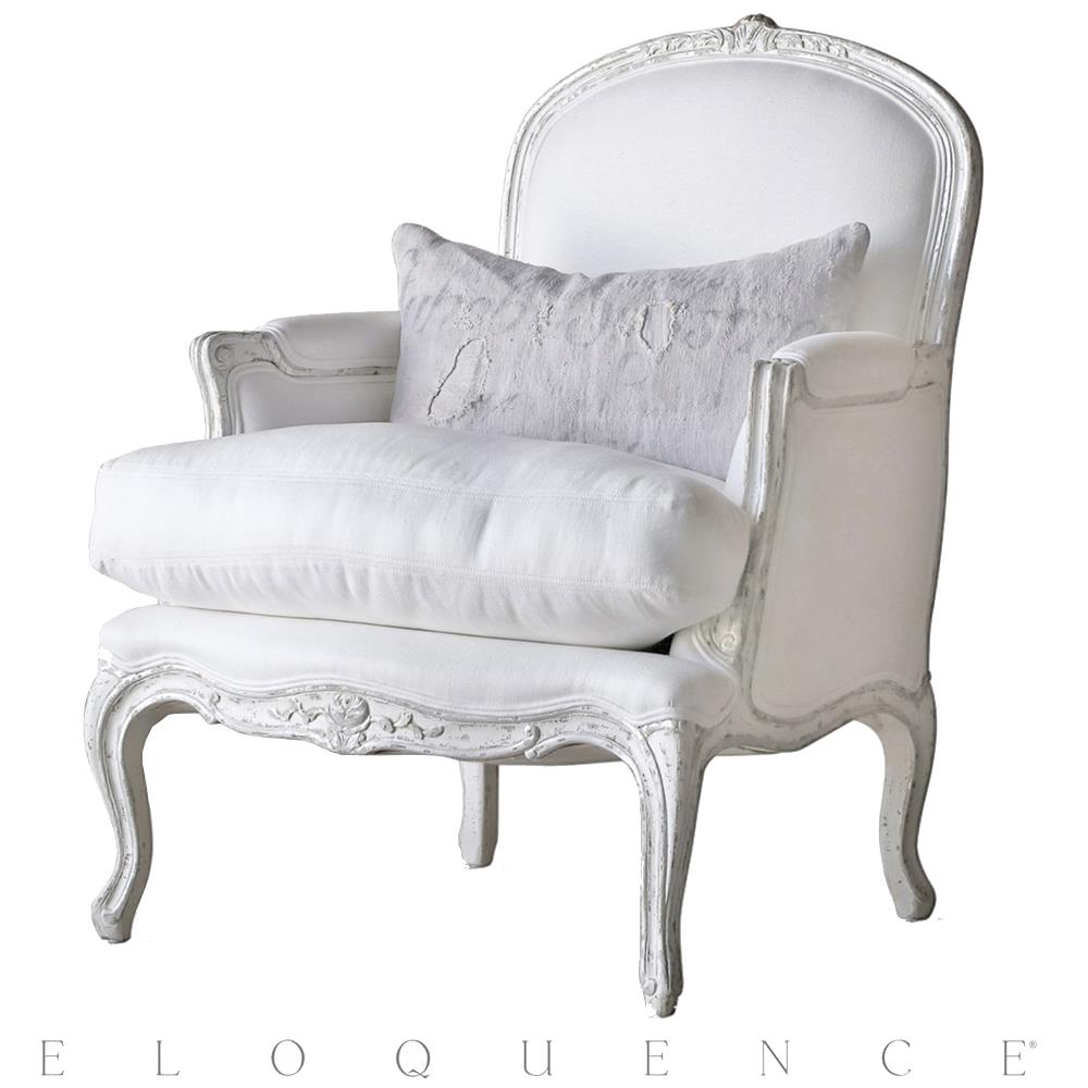 Eloquence La Belle Accent Bergere in Silver Antique White Two-Tone | Kathy  Kuo Home ... - Eloquence La Belle Accent Bergere In Silver Antique White Two-Tone