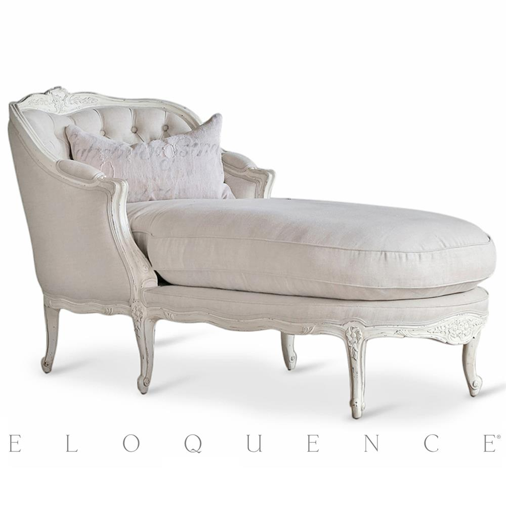 Antique lounge chairs - Eloquence Louis Chaise In Antique White Kathy Kuo Home