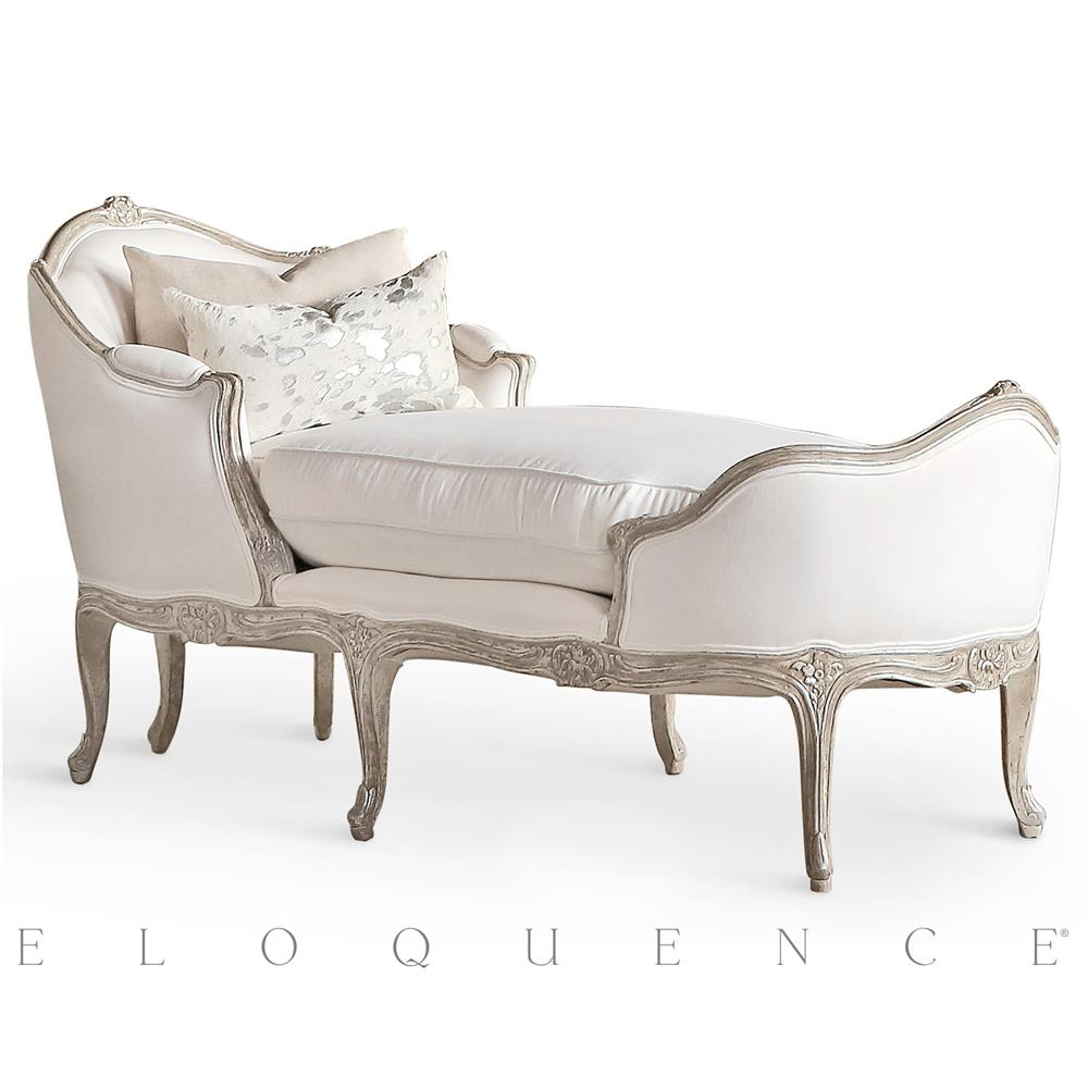 Eloquence marie antoinette chaise in silver antique white for Black and silver chaise longue
