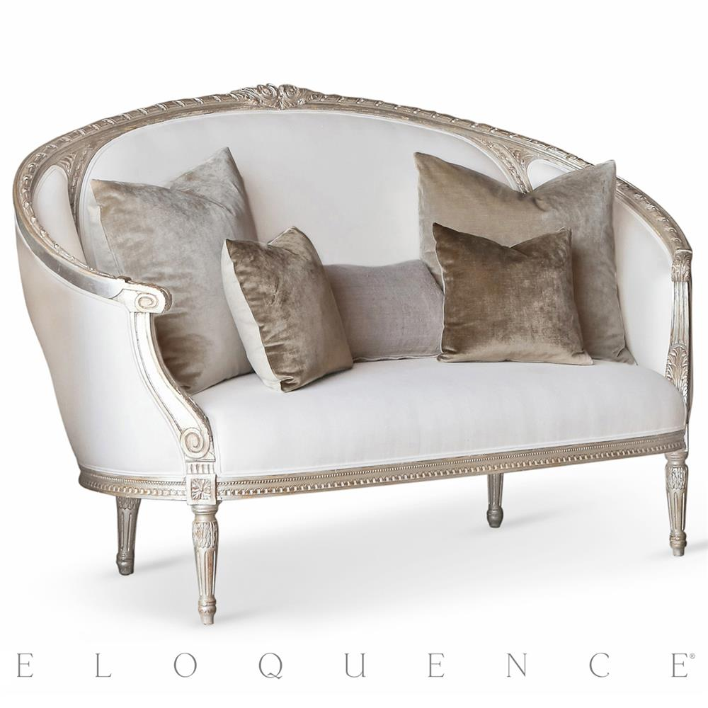 eloquence versailles canape sofa in silver leaf kathy kuo home. Black Bedroom Furniture Sets. Home Design Ideas