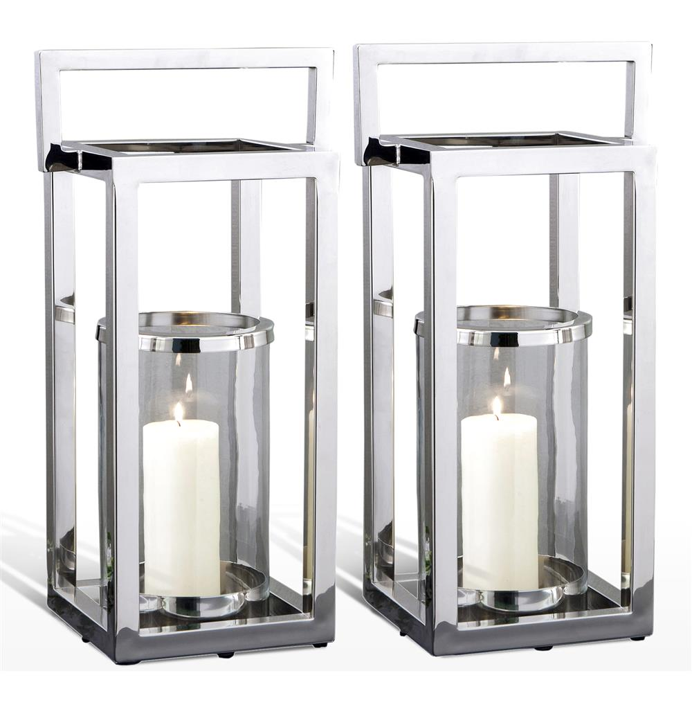Pair Andalusia Modern Silver Square Candle Lanterns