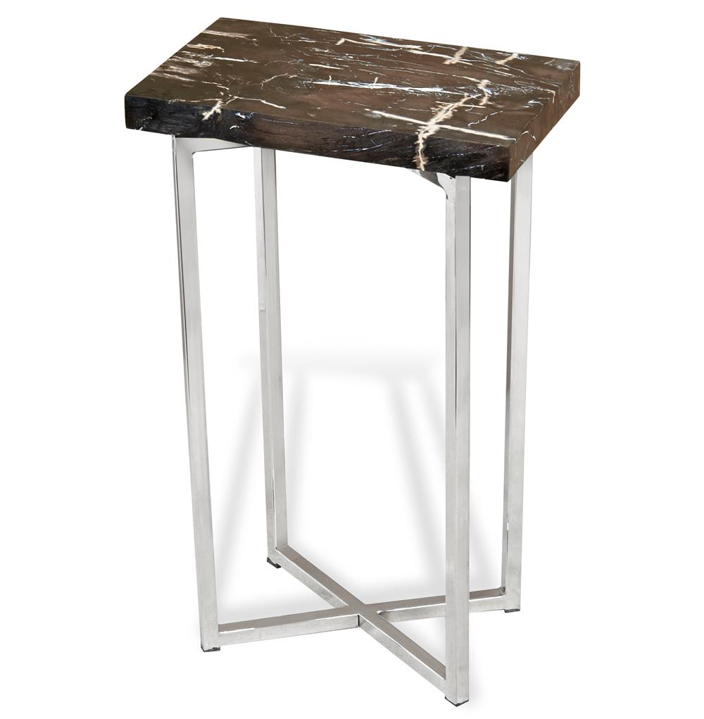 Argo modern rustic petrified wood rectangular side table Modern side table