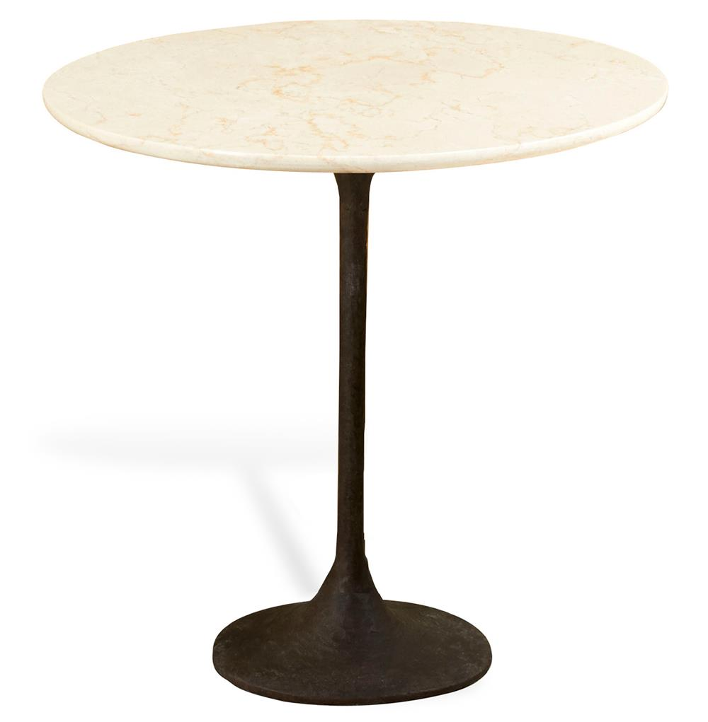 Ashby industrial modern ivory marble iron tall accent for Tall side table