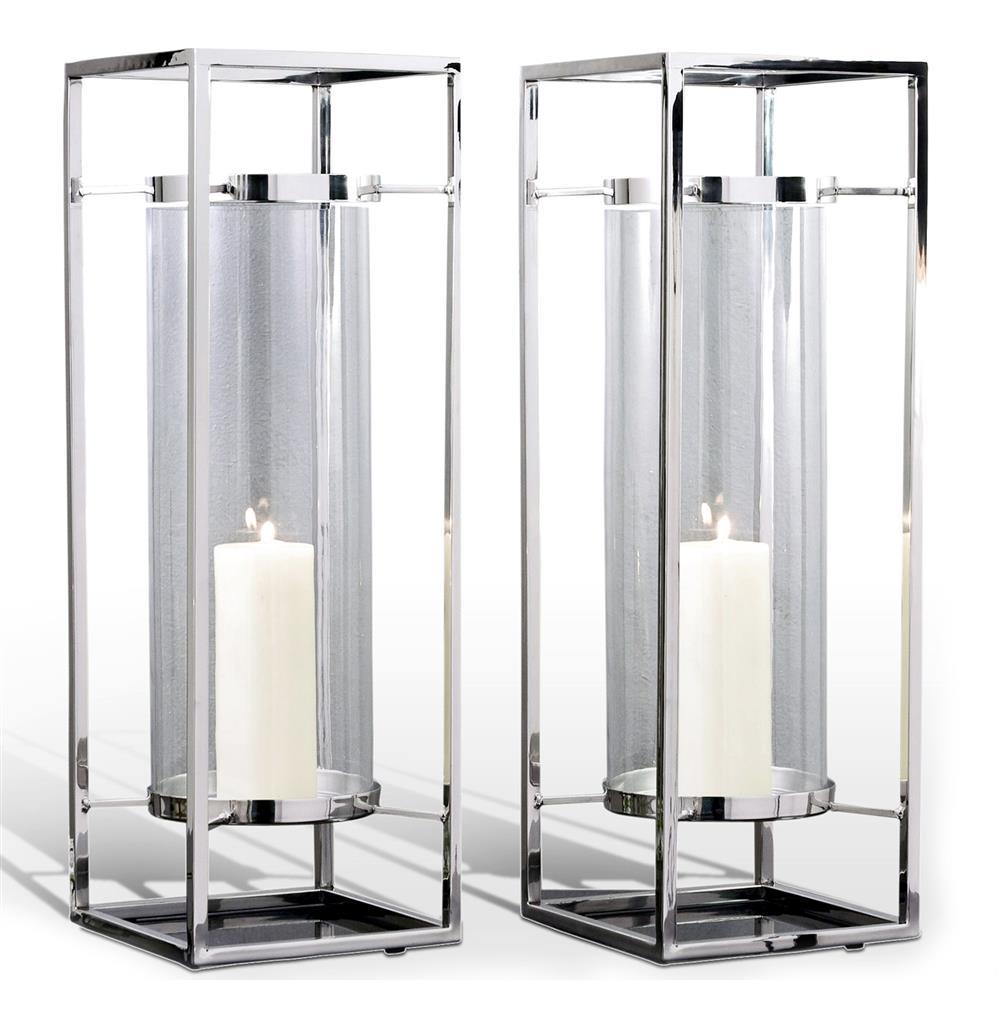 Pair Adour Silver Glass Modern Square Tall Hurricane