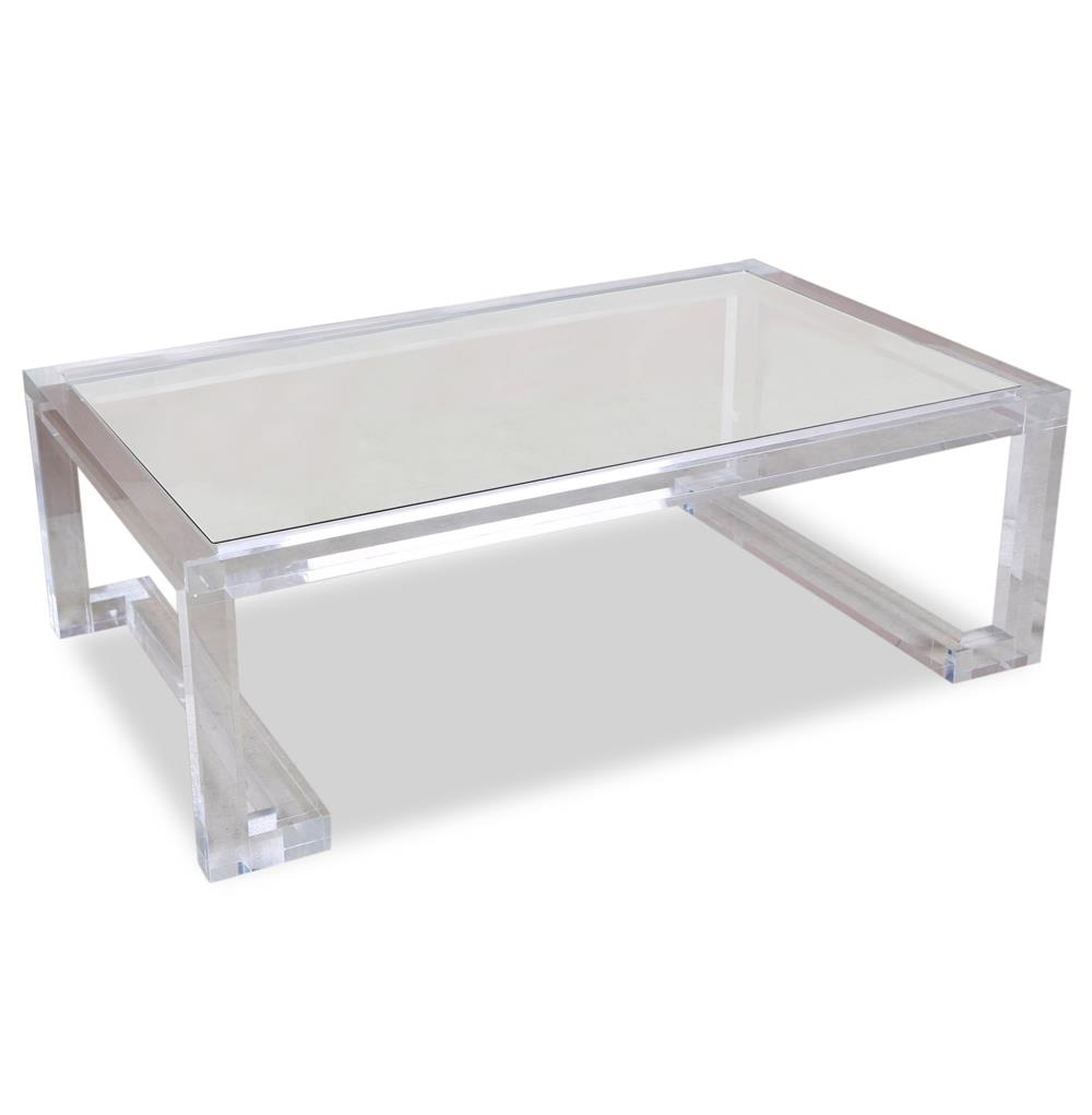 Ava Hollywood Regency Modern Glass Acrylic Coffee Table Kathy Kuo Home