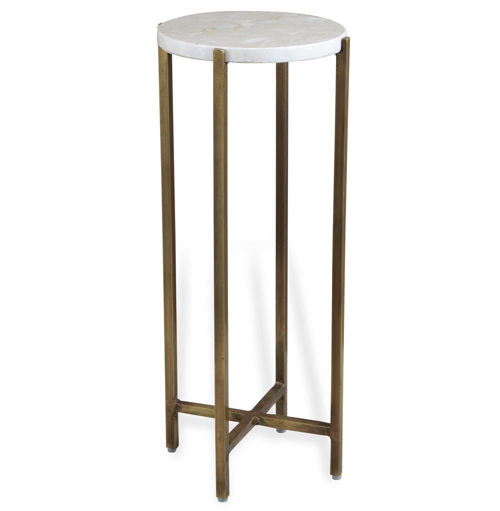 Zahara round ivory marble side table kathy kuo home for Round marble side table