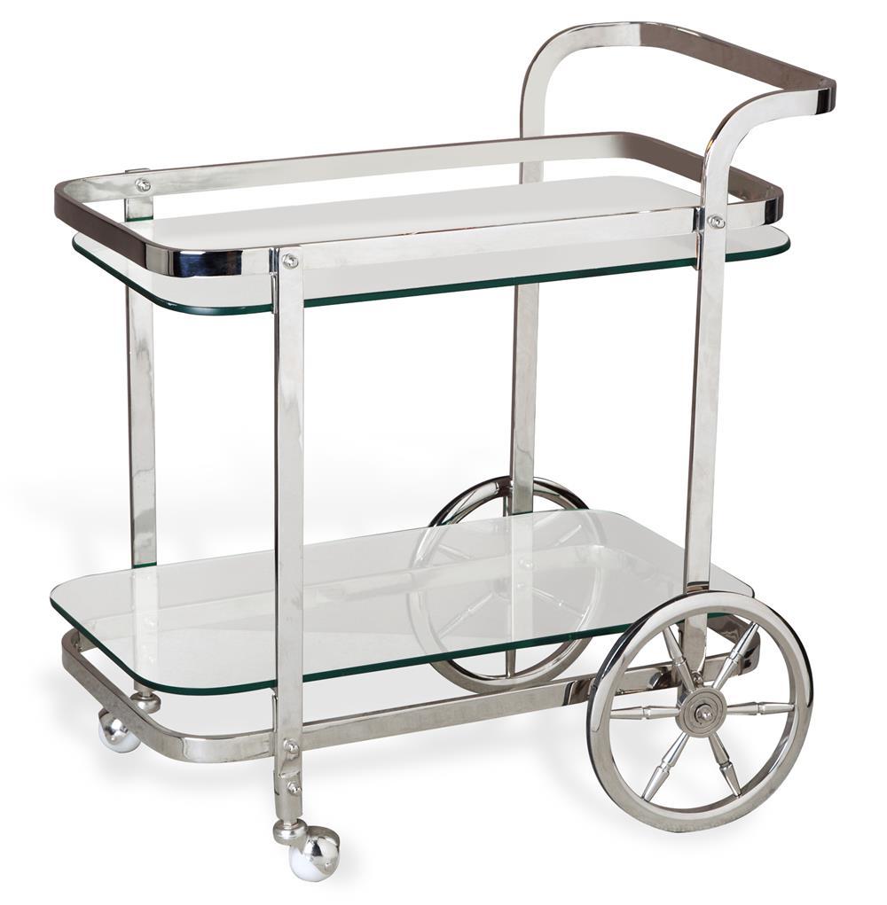 Viggo Hollywood Regency Rolling Silver Bar Cart Kathy