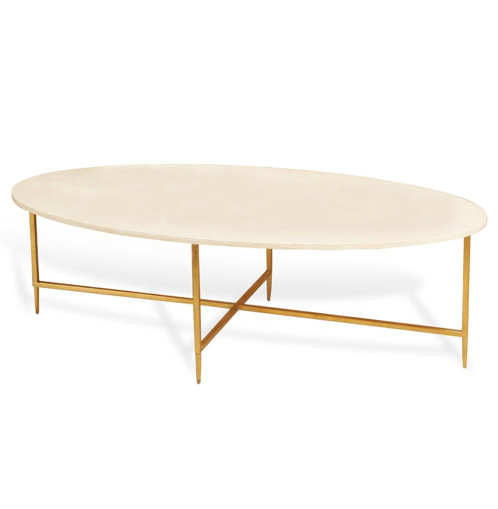 Ashlyn Hollywood Regency Gold Cream Marble Oval Coffee Table Kathy Kuo Home