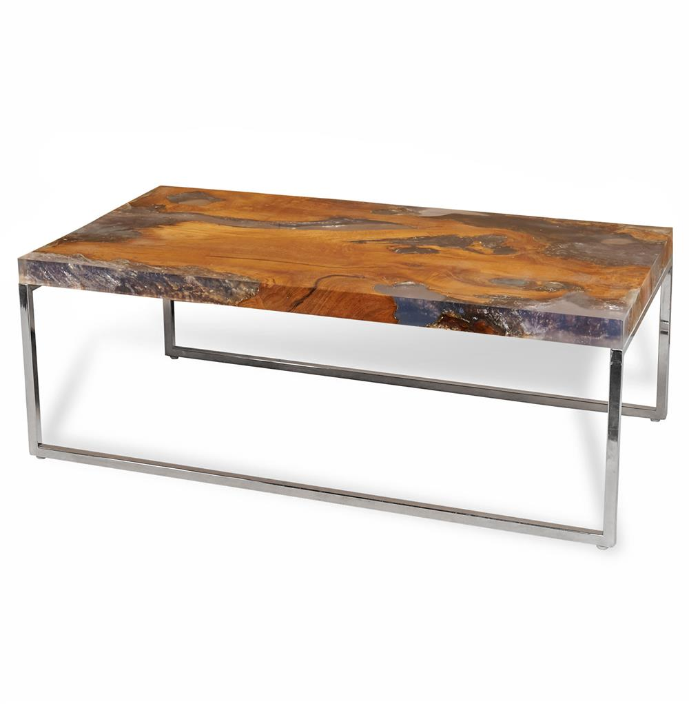 Vidaxl Coffee Table Teak Resin: Sivan Rustic Lodge Teak Root Resin Rectangle Coffee Table