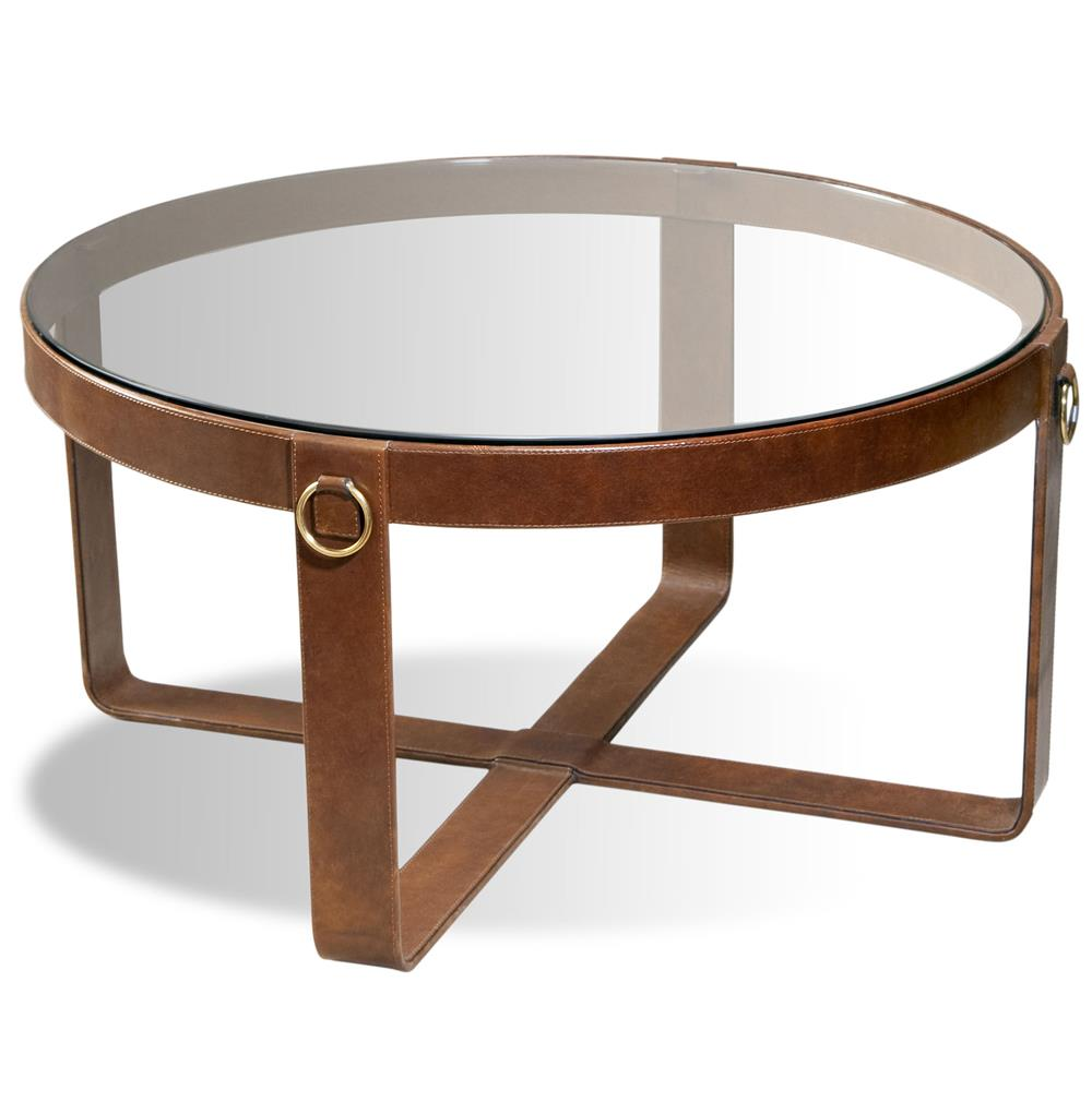 Jameson modern rustic lodge round leather coffee table kathy kuo home Rustic round coffee table