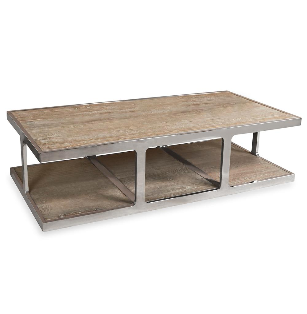 Zanuso Industrial Reclaimed Elm Stainless Steel Rectangular Coffee Table Kathy Kuo Home