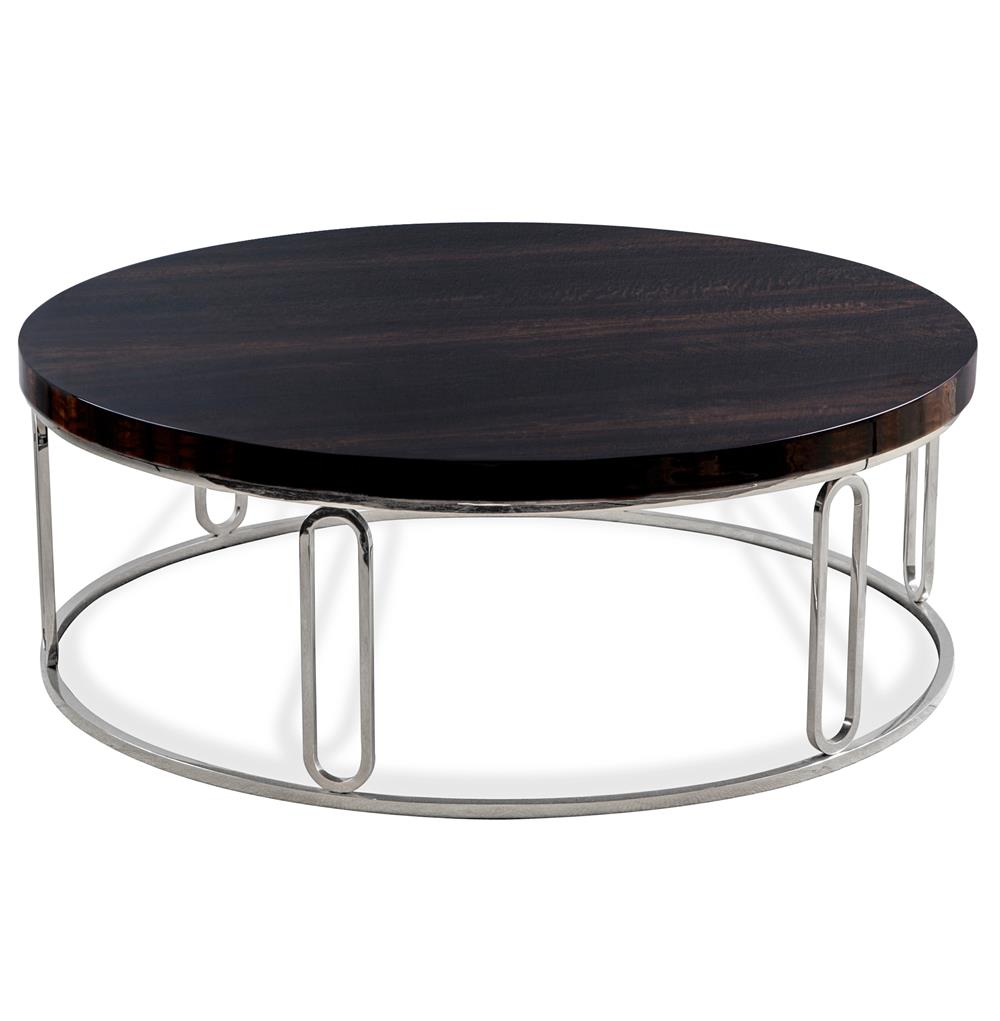 Barcelona Polished Eucalyptus Wood Round Silver Coffee Table Kathy Kuo Home