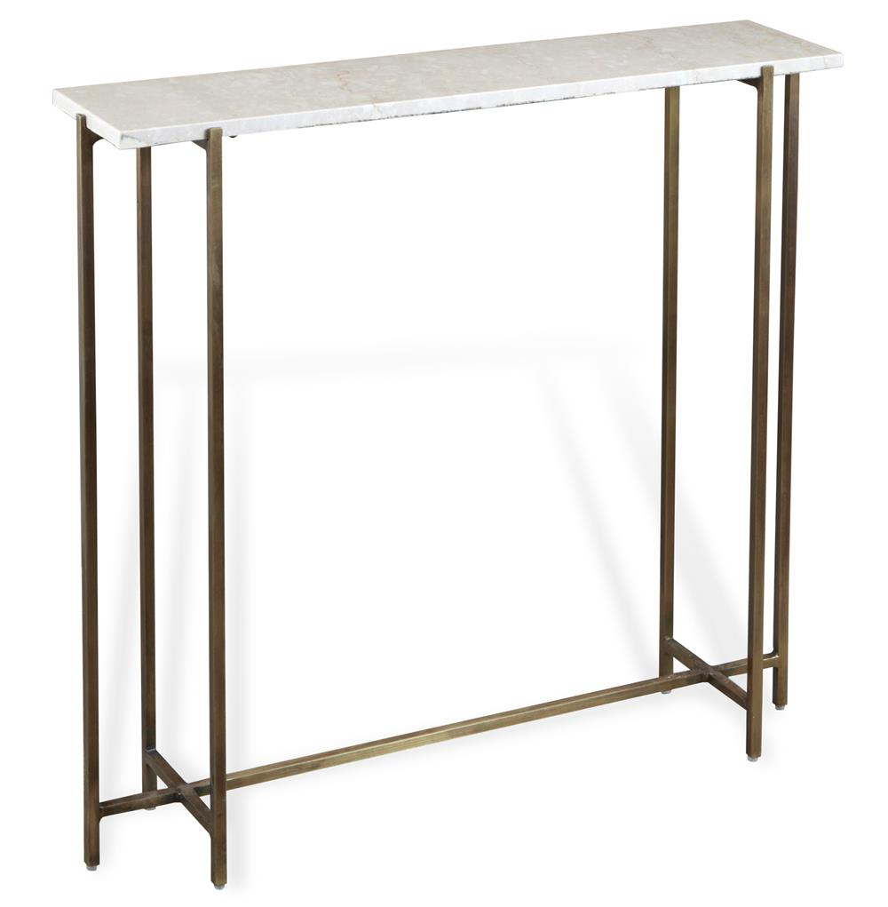 zenith modern cream marble antique brass console table kathy kuo home