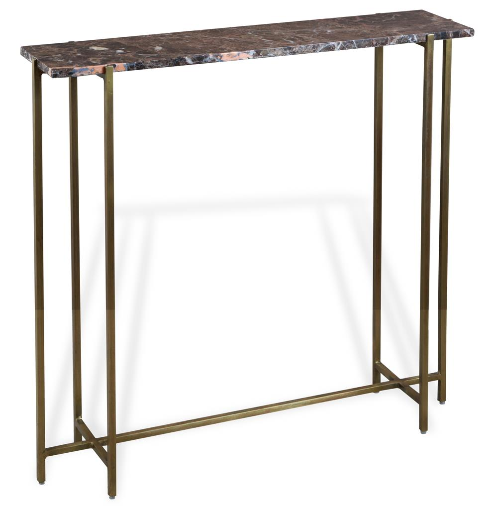 Zenith modern brown rose marble antique brass console for Zenith sofa table