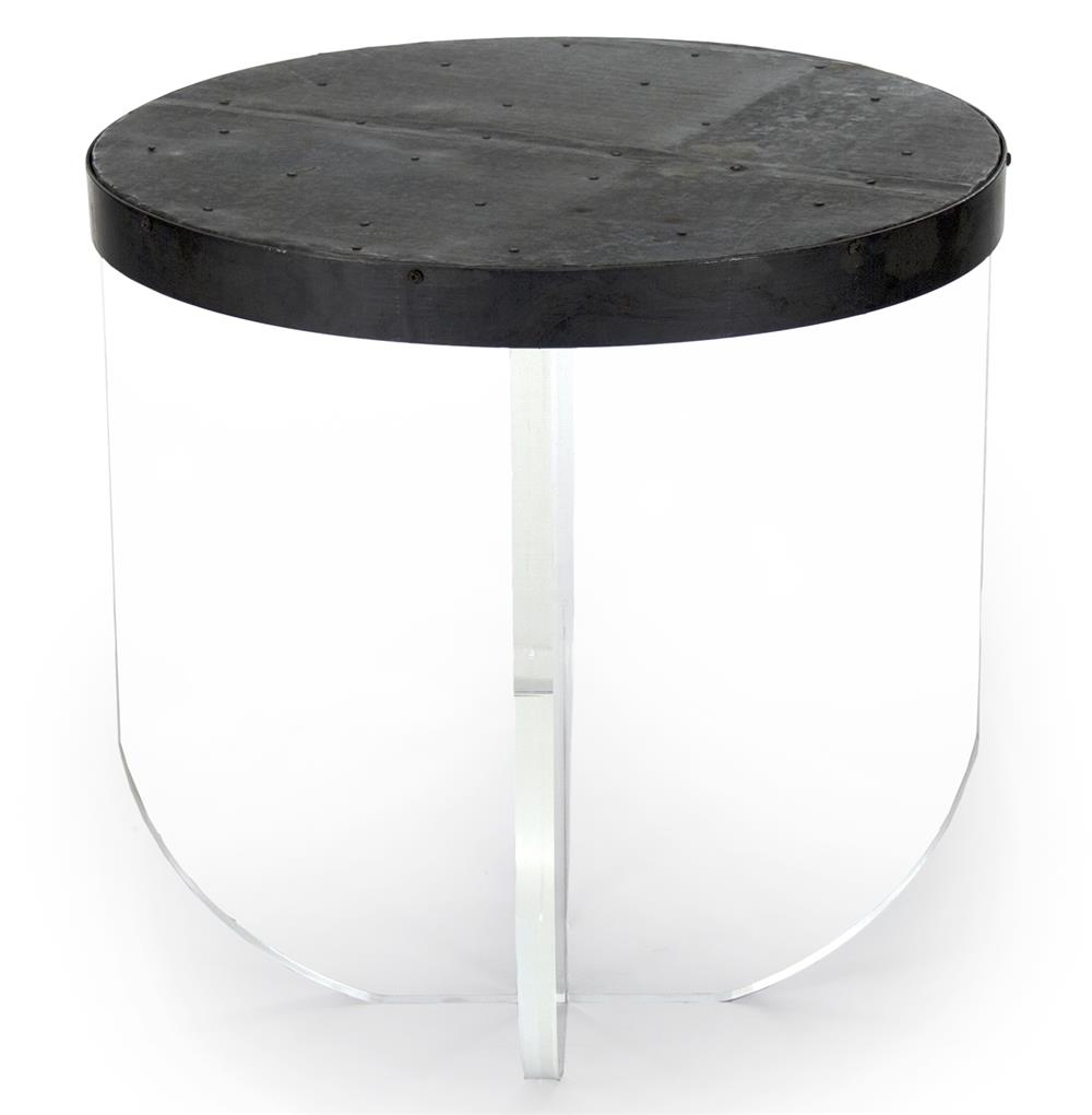 Blaine modern acrylic zinc top round side table kathy for Side table base