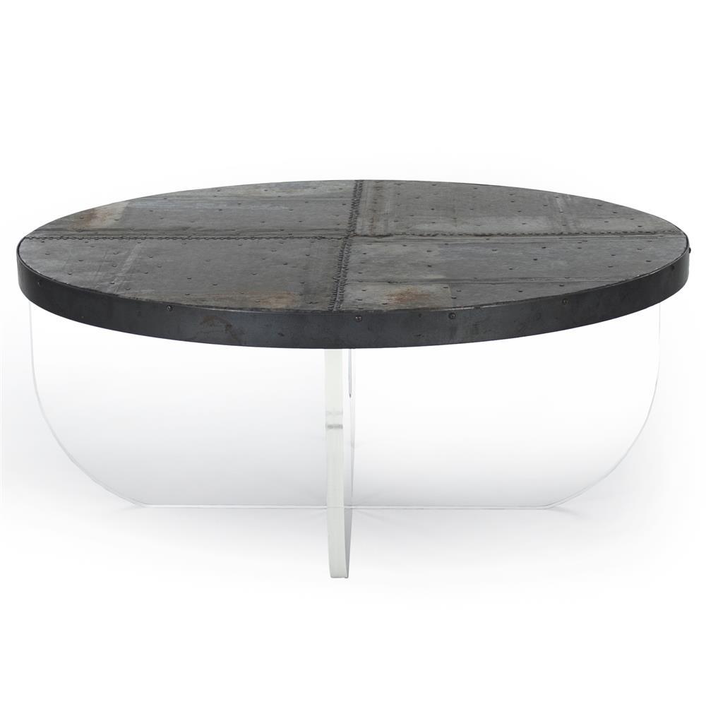 Blaine Modern Acrylic Zinc Top Round Coffee Table Kathy Kuo Home