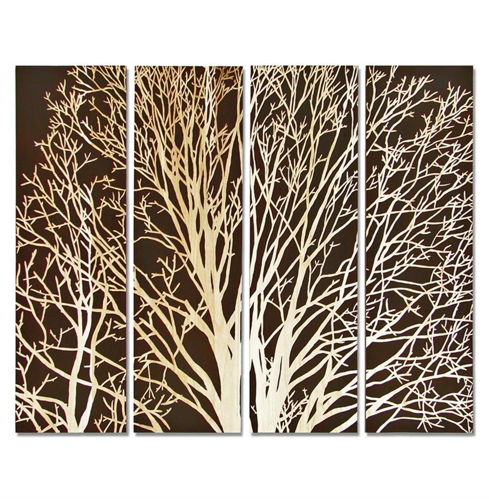 Carved Wooden Wall Art arbor spring tree brown carved wood wall mural art | kathy kuo home